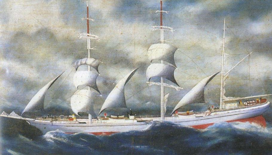 Le Général-de-Boisdeffre, trois-mâts barque de la société nouvelle d'armement, voilure réalisée par la maison Lefèvre-Rigot
