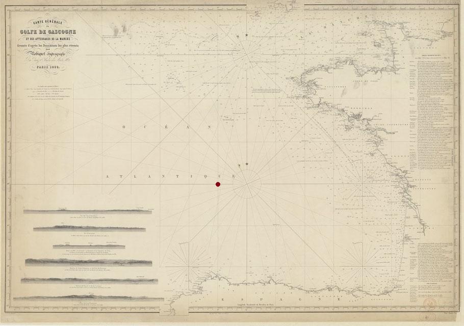 Le point rouge tracé sur cette carte est la zone du naufrage du Janua Coeli et du sauvetage par la Marie Elisa par 46°N 10°Ouest du méridien de Paris  Carte marine française du Golfe de Gasconne de 1855 (Gallica)