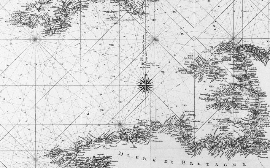 Carte de la manche en 1778, réalisée pour le Roi , par vent de secteur ouest ce n'était pas simple de « démancher » en partant de Saint-Malo