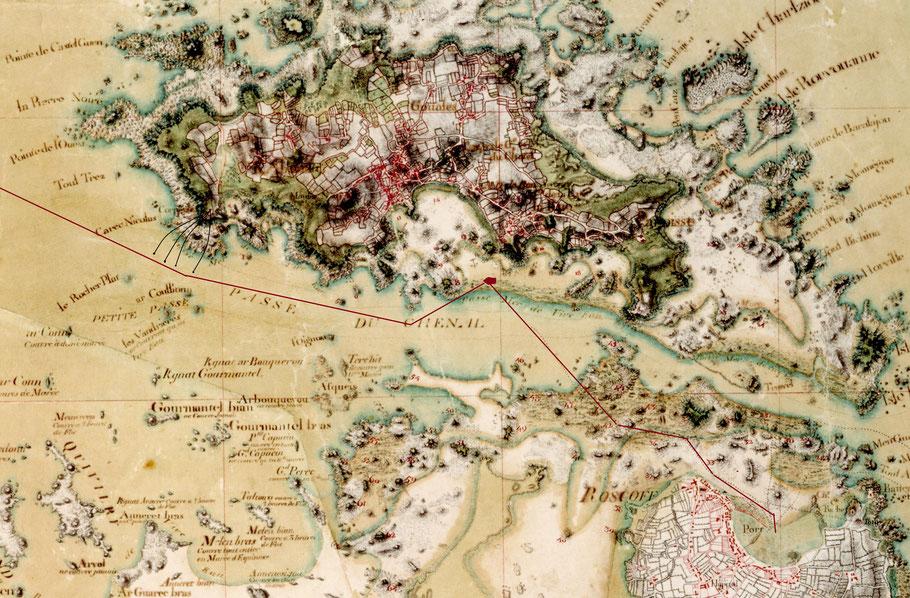 Route supposée du cotre Union sous les boulets de batterie de l'ouest.  Détail de la magnifique carte manuscrite de l'île de Bas   des Ingénieurs du Roi vers 1780 (Source SHD Vincennes)