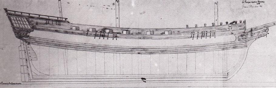 Plan du Prosper, navire négrier (Source monographie de Jean Boudriot)