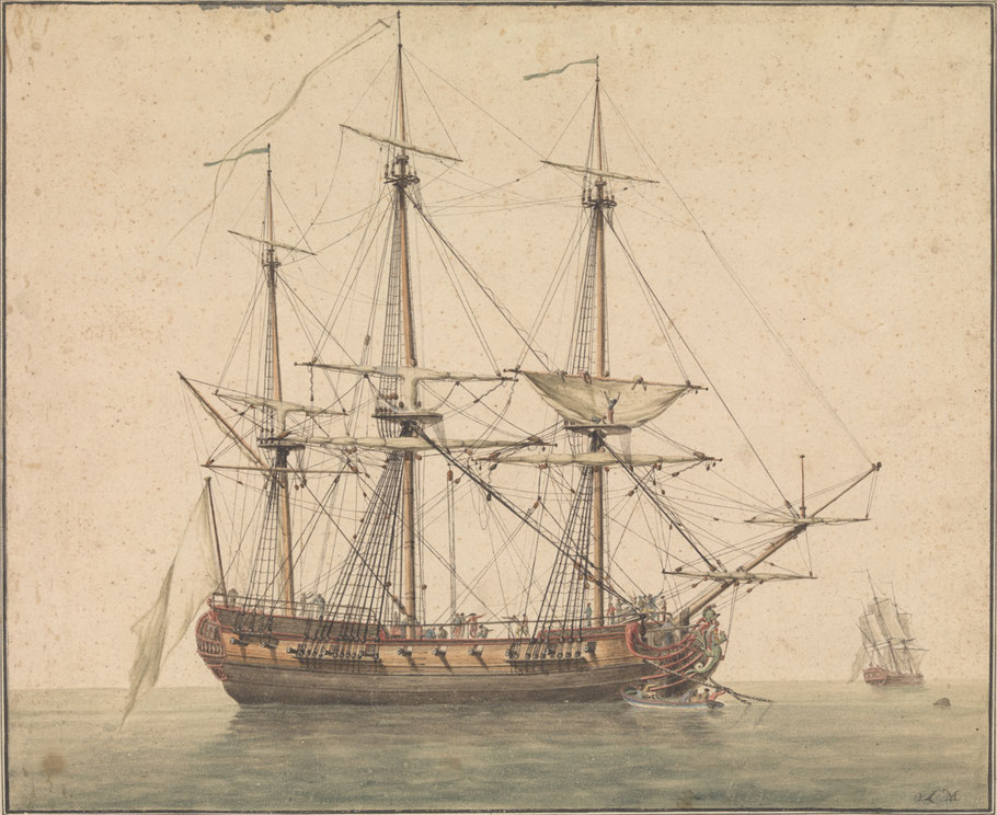 Frégate française vers 1780, (Collection National Maritime Museum)