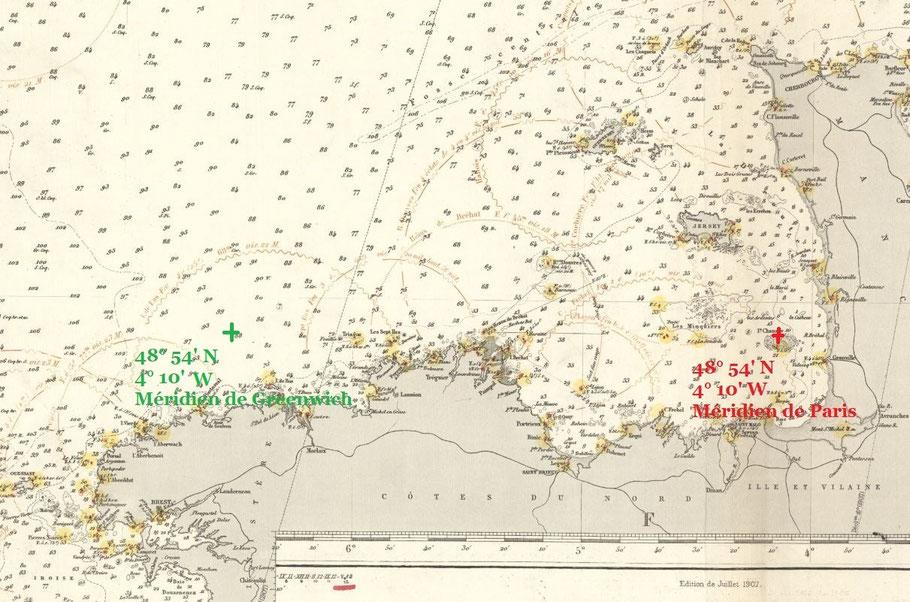 Extrait de la carte de la Manche 2169 édition de 1907 mise à jour 1912 la longitude est toujours référencée par rapport au méridien de Paris  (archives SHOM)