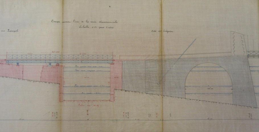 Projet de pertuis de 1877, coté Tréguier avec travée tournante