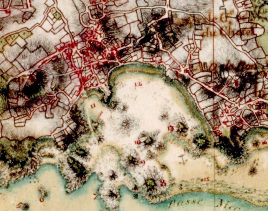 Extrait de la carte manuscrite des ingénieurs géographe du roi, levée vers 1775. La densité de l'habitat à proximité de Pors an Eoc est évidente.