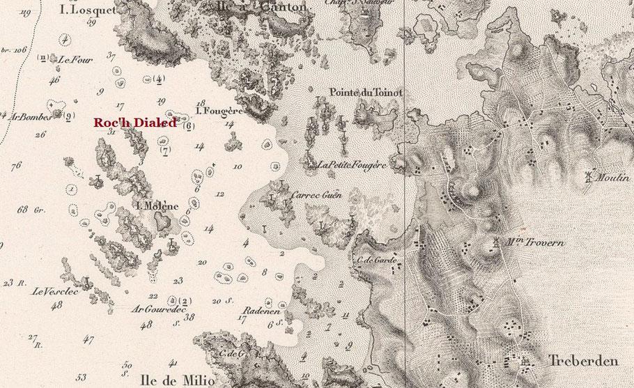 Extrait de la carte du « pilote français » de 1843 (les sondes sont en pieds)  Pour quitter le port de Trébeurden, l'Ecume de mer  sortait par le chenal de l'île Losquet et passait le long de Roc'h Dialed