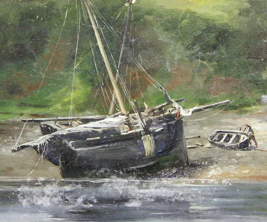 Gabare du Trieux peinture de Louis Marie Faudacq vers 1890,  la voute est courte et le haut du tableau ajouré et une large « portière sur tribord le côté ou se pratique la drague à sable (Col. AD22)
