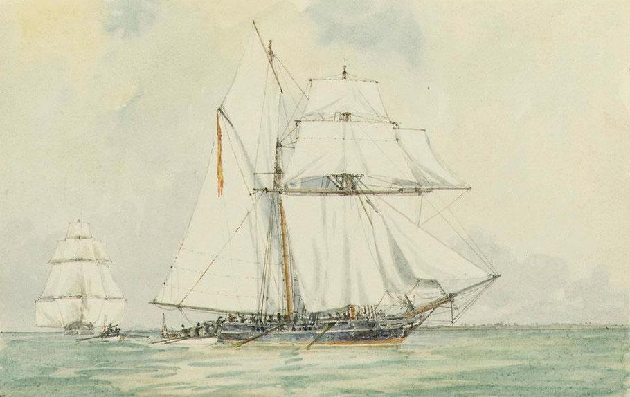 Arraisonnement en 1817 du brick-goélette Espagnol Esperance par les péniches du brick anglais HMS Morgiana ( National Maritime Museum)