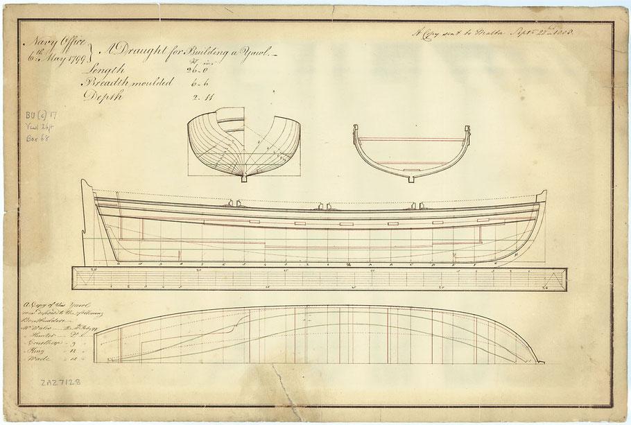 Plan d'un yawl anglais de 26 pieds (7,92m) les péniches sont proches des embarcations anglaise  (Coll National Maritime Museum)