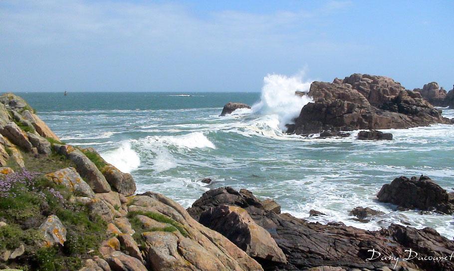 La côte de Bréhat est hérissée de rocher et la mer y est souvent dure (Photo Dany Ducousset)