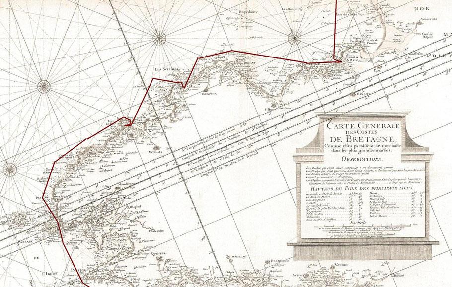 Le périple du « Parisien » tracé sur la carte française de Joseph Sauveur de 1753, étonnant sur cette carte le nord n'est pas vers le haut. Les documents nautique vers 1825 ne sont guère plus précis.