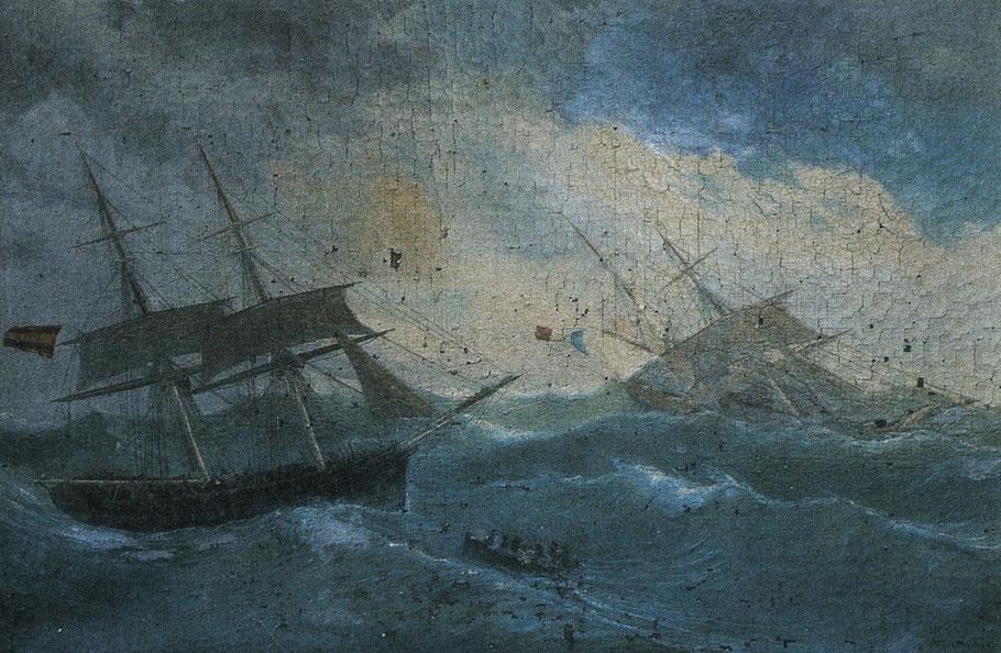 Naufrage du brig l'Espérance capitaine Thomas Philippe, dans l'ouest de l'ile Flores aux Açores, le 23 aout 1867.