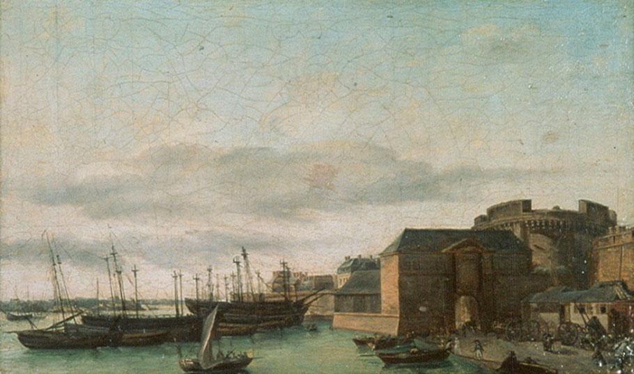 Port de Saint-Malo vers 1825 (peinture anonyme), les quais sont très réduits et les bassins n'existent pas, les navires échouent devant la ville ou restent au mouillage en rade.
