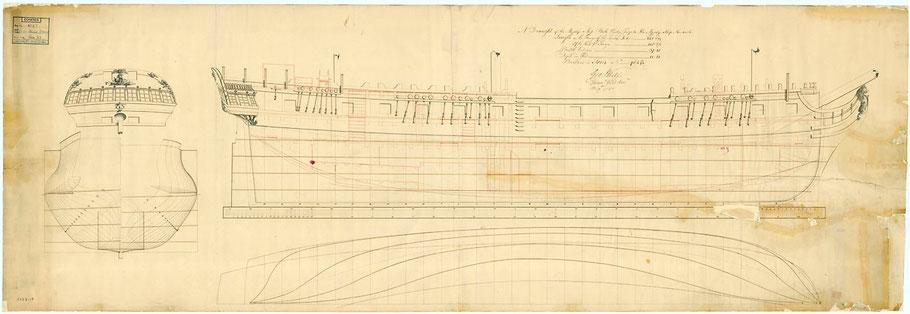 Plan anglais  de la Belle-Poule, le plan des frégates françaises capturées était établie dans les arsenaux anglais (coll National Maritime Museum)