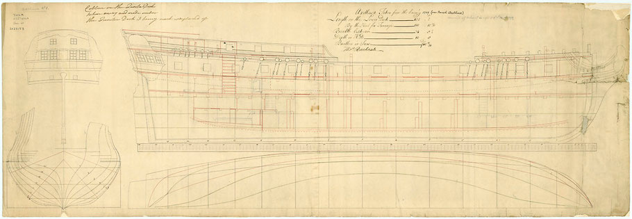 Plan anglais de l'Arethusa (coll National Maritime Museum)