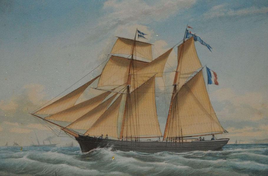 Goélette de cabotage Marie Pauline, les goélettes à hunier ancienne n'ont pas encore en 1879 le hunier à rouleau caractéristique des goélette d'Islande postérieures (ex voto à Equermauville)