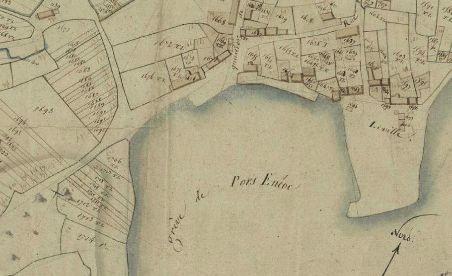 Cadastre de l'île de Batz de 1809, pas de trace de la chapelle St Eneoc.