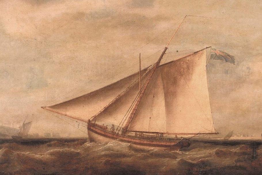 Cotre des douanes britanniques vers 1800 (source National Maritime Museum)