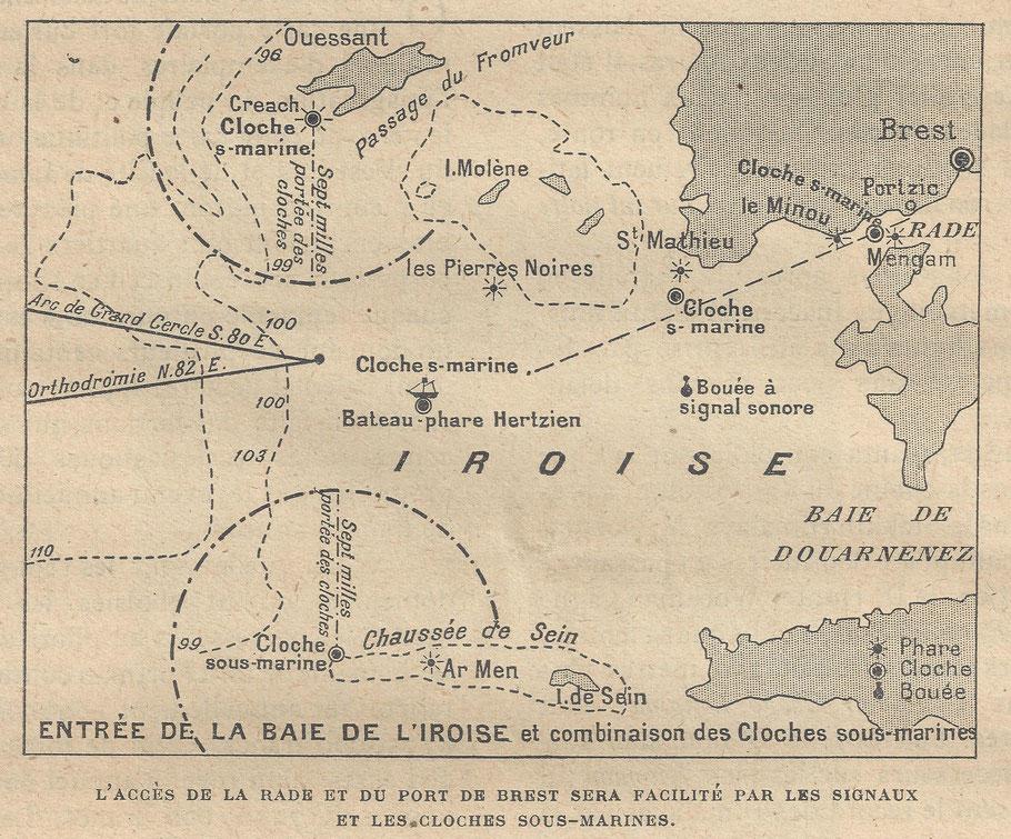 Le projet complet qui ne vit jamais le jour comprenait pas moins de 5 cloches sous-marines dont une dans l'ouest du phare d'Ar Men et une autre sur un bateau feu mouillé à mi-distance de de l'île de sein à l'île d'Ouessant