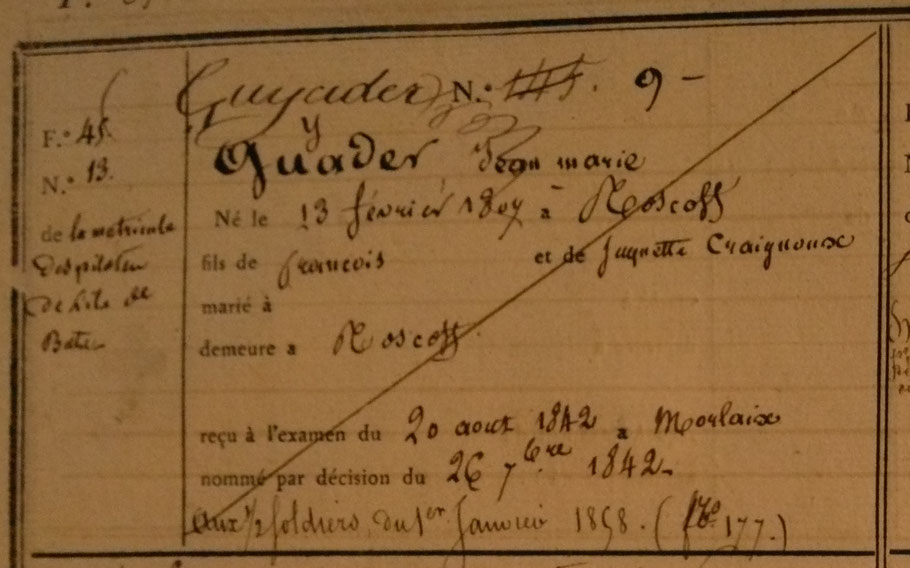 Entête de la matricule de Pilote de Jean-Marie Guyader (SHD cote 6P3 53)
