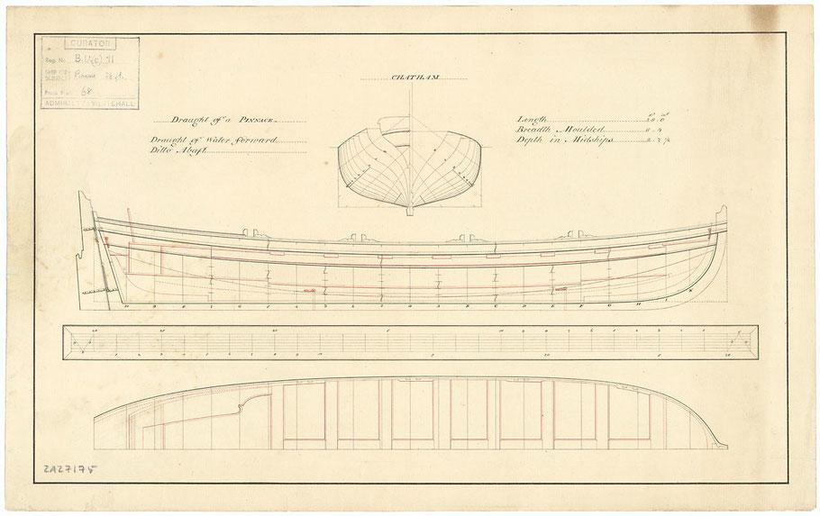 Péniche anglaise de 28 pieds, intitulé en anglais « Pinace » plan daté de septembre 1798 arsenal de Chatham (collection National Maritime Museum)