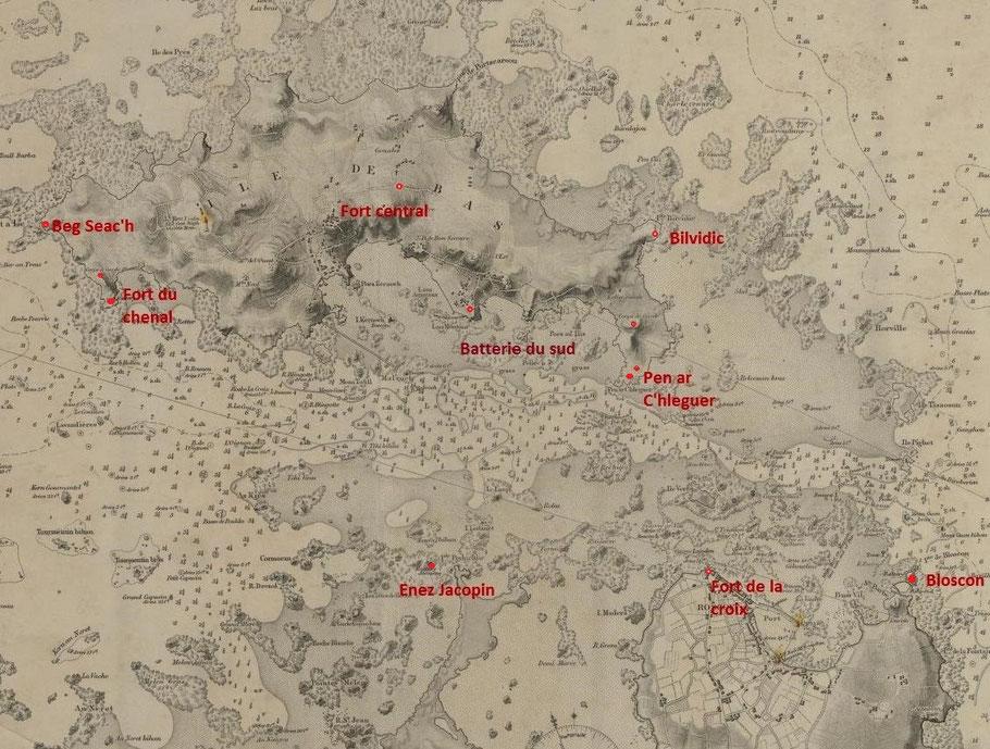 Situation des fortifications littorales du chenal, sur la copie anglaise de la carte de Beautemps-Beaupré, la localisation de la batterie du sud est une supposition