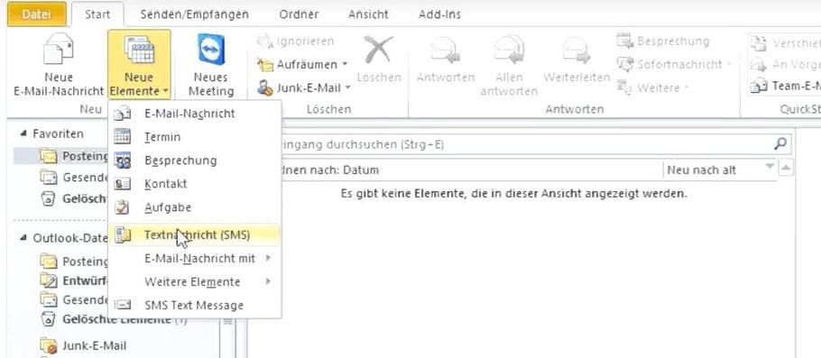 Versenden und empfangen Sie SMS Nachrichten über eine Outlook Integration