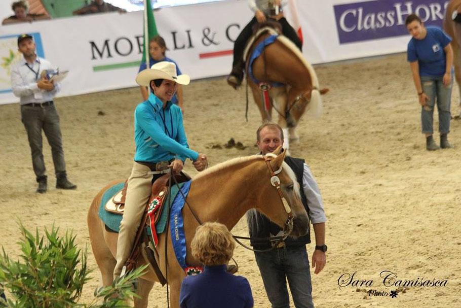 Priska Kelderer auf Champ, beim Haflinger Europachampionat 2015 in Vermezzo (MI). Reiten in Kaltern am See; Reitschule; Pferde; Haflinger