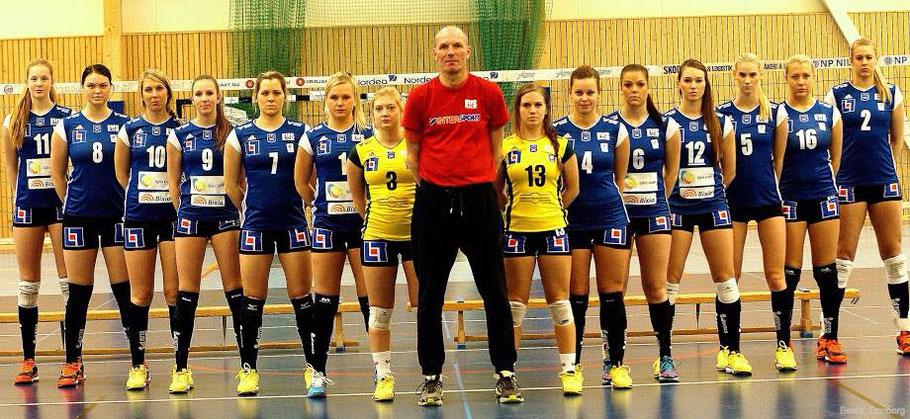 Equipe  d'Engelholms VS (Suède) : Isabelle (n°11) et Anna (n°9)