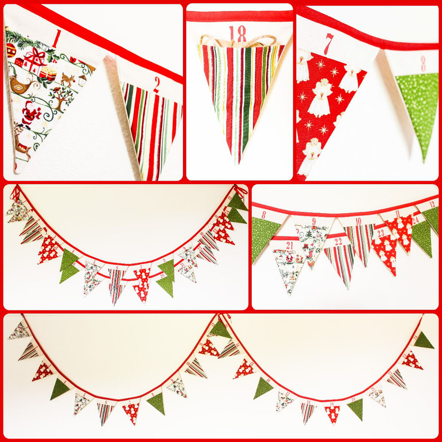 Advent Calendar Bunting - traditional, red/green/gold. Pocketed flags to fill with treats.