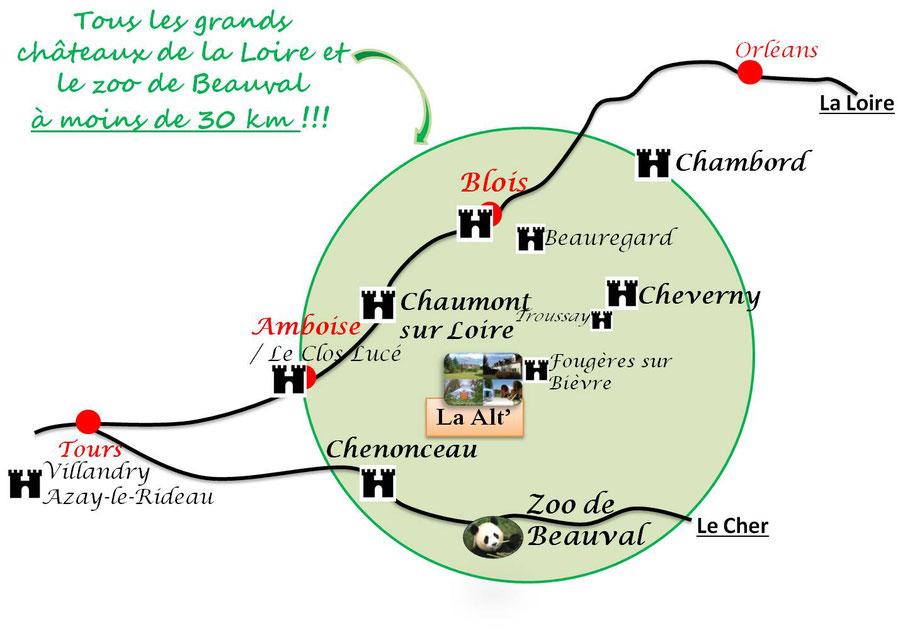 Chambord, Chenonceau, Amboise, Blois, Chaumont-sur-Loire, Cheverny, ZooParc de Beauval panda, La Alt'