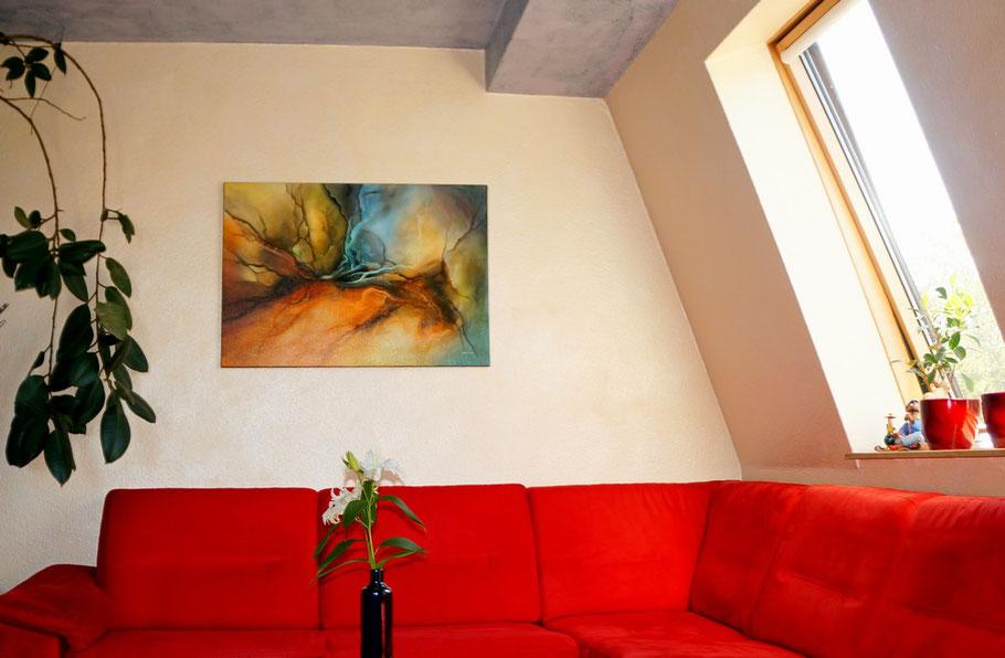 Dieses Gemälde von Hartwig Dilling hängt jetzt bei Mandy und Tino im Wohnzimmer.