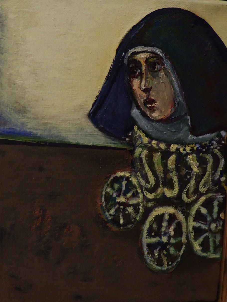 Auf Rädern o.J., Eitempera + Öl auf Leinwand 24 x 18 cm
