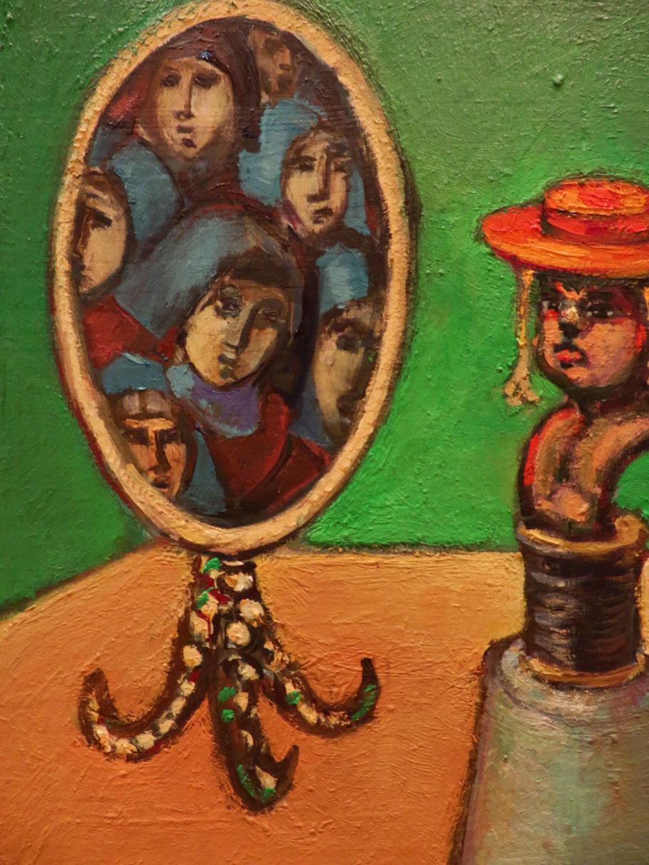 Im Spiegel o.J., Öl auf Holz, 25 x 18 cm