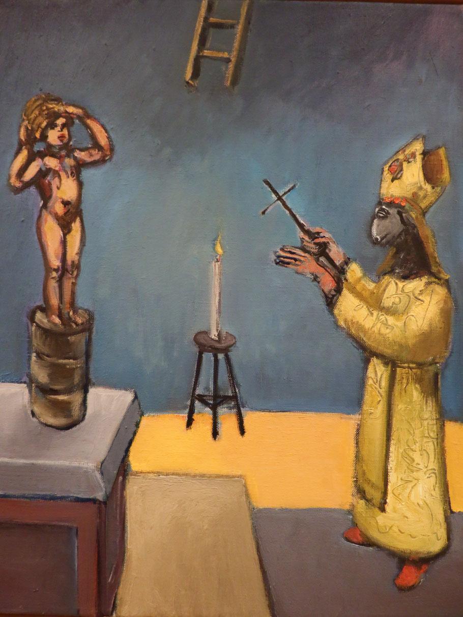 Die Beschwörung o.J., Eitempera + Öl auf Leinwand 50 x 40 cm