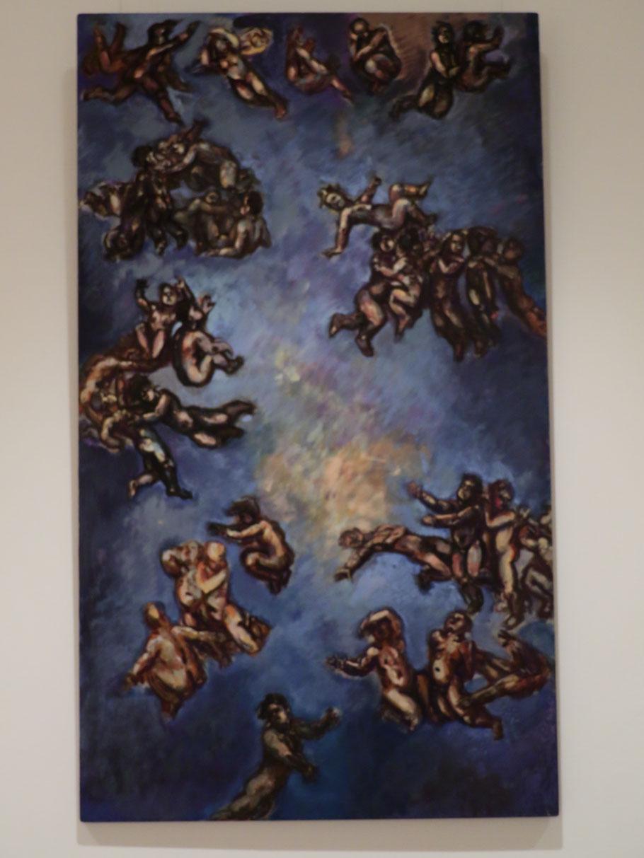Entwurf eines großen Bildes 1993, Acryl + Öl auf Sperrholz 88,5 x 51,5 cm