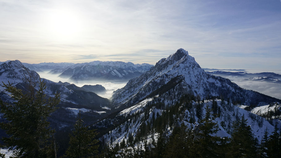 berghundtal, kasberg, alpen,salzkammergut,skitour,sonnenuntergang,oberösterreich,wandern mit hund,steineck,traunstein