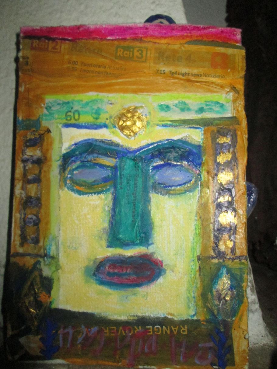 Atargatis, syrische Göttin, Collage, Eitempera, Pastellstifte, 2016