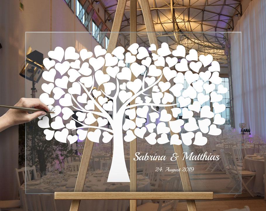Besonderes Acrylglas - Plexiglas Hochzeitsbaum, Hochzeitsschild, wedding tree
