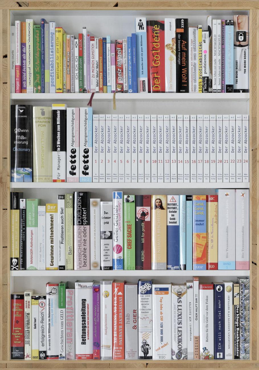 STONEMAN Schaukasten: Egoismus 2011 / Bibliothek eines Abzockers.... Holz Glas B 70 H 100 T 10 cm