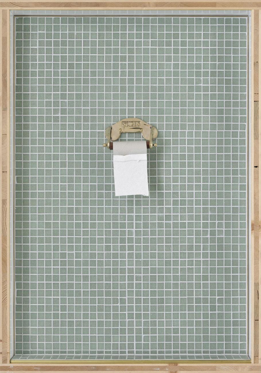 STONEMAN Schaukasten: Ende 2011 / Toilettenpapierhalter. Holz Glas B 70 H 100 T 10 cm