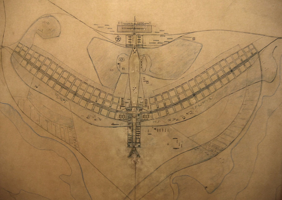 One of the first plans of Brasília. A digital photo of the original plan, which is on permanent public display at the O Espaço Lúcio Costa in Brasília.image souce by wikipedia