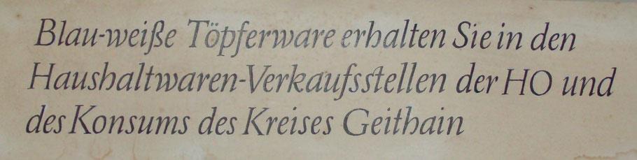Reklameschild aus DDR-Zeiten / Original im Töpfermuseum Kohren-Sahlis