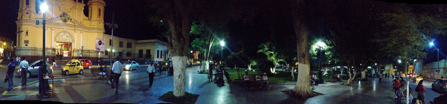 Piura's main plaza at night