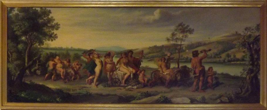 Dipinto antico - Dipinto olio su tela - Mitologico - Trionfo di Bacco e Arianna - cm 87x197 - Antiquariato