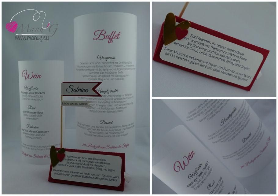 Wir stellen auch komplette Hochzeitspapeterien her. Preise bitte auf Anfrage.