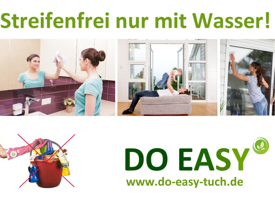 Streifenfrei Fenster putzen, Zaubertuch Fenster Spiegel, DO EASY