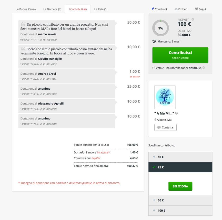 Esempio di visualizzazione trasparente delle donazioni: il rendiconto è sempre disponibile sul sito 'Buona Causa'