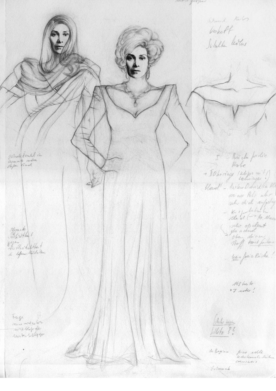 Die Zofen, Schul-Uniform, Frau, Madame,  Jean Genet, Julia B. Nowikowa, Zeichnung, Bleistift, Figurine, Kostüme, Collage