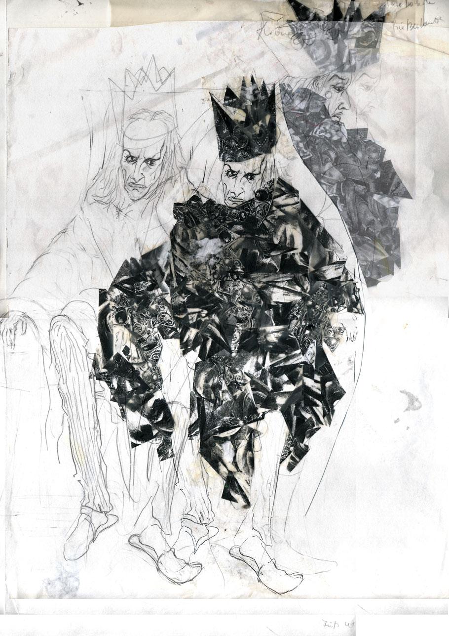 Pirandello, Heinrich IV, Zeichnung, Kostüm, Collage, Julia B. Nowikowa